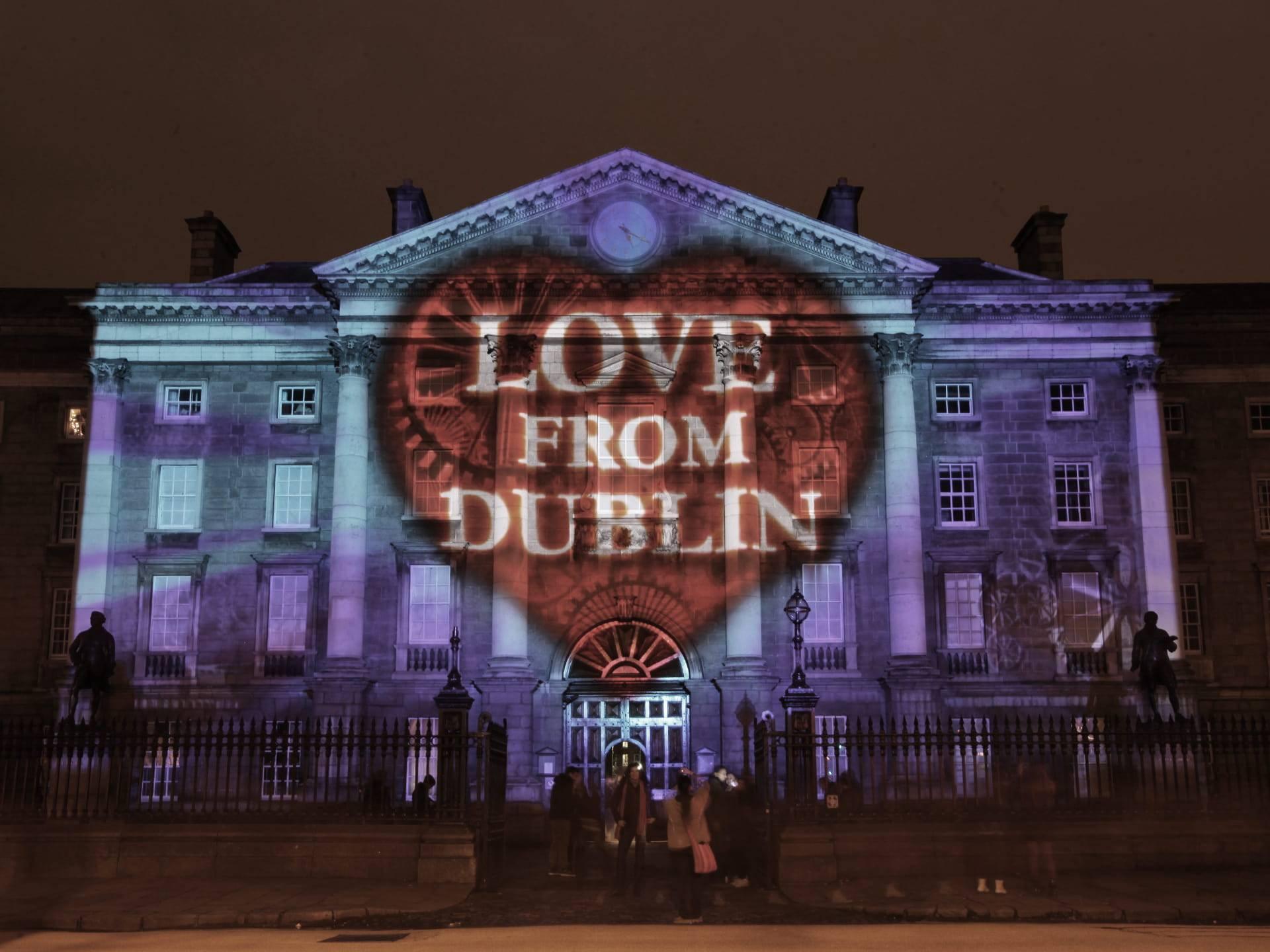 Love from Dublin projection on Dublin City Hall